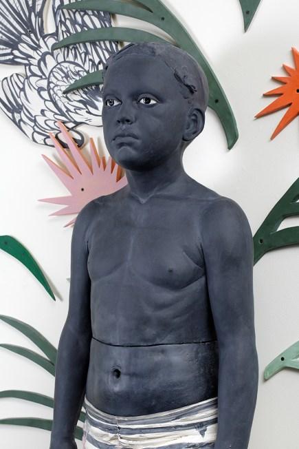 "Cristina Córdova, ""De mi isla salvaje (from my wild island)"" detail, 2015, ceramic, resin, pigments, tiles 93 x 70"", figure 53 x 25 x 17""."