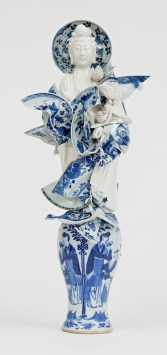 "Bouke de Vries, ""Goddess of the Fragments 2"" 2015, 18th and 19th century Chinese porcelain fragments and steel, 22.75 x 9.75 x 7.75""."
