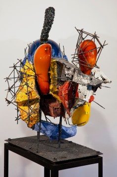 "Raymon Elozua, ""R&D III RE-10-1b"" 2014, ceramic, glaze, steel, glass, 44 x 31 x 42""."