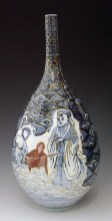 "Sin-ying Ho, ""Confucius, John Lennon and Jesus Christ — Confluence"" 2008, porcelain, cobalt, decal, luster, 16 x 9""."