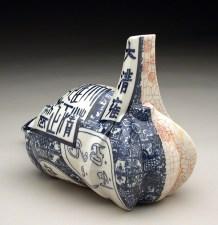 "Sin-ying Ho, ""Histogram No. 2"" 2007, porcelain, cobalt, decal, terr sigillata, 8 x 6 x 8""."