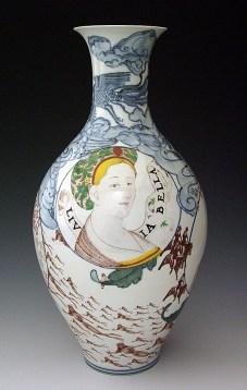 "Sin-ying Ho, ""Ladies"" 2008, porcelain, cobalt, decal, enamel, 18 x 8.5""."
