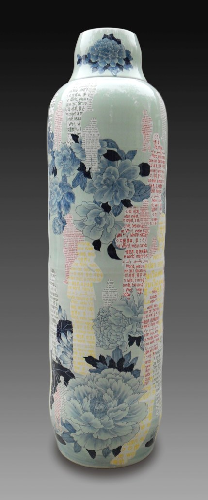 "Sin-ying Ho, ""One World, Many Peoples No. 2"" 2010, porcelain, cobalt pigment, underglaze, decal, glaze, 77 x 23.25""."