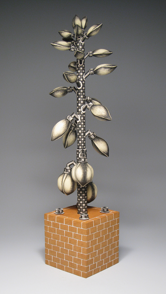 "Jason Walker, ""Mechanized Life: Yucca"" 2007, porcelain, 30 x 7 x 7""."