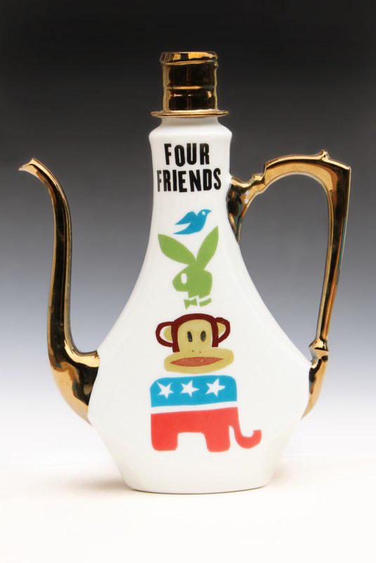 """Garth Johnson, """"Four Friends"""" 2010, porcelain, 8 x 6.5 x 2.25""""."""