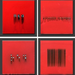 """Bobby Silverman, """"4 Versions of Red (1)"""" 2012, re-fired commercial porcelain tiles, 12 x 12"""" each."""