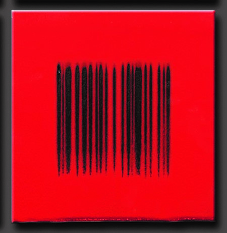 "Robert Silverman, ""Bar Code Red"", 2012, re-fired commercial porcelain tile, 12 x 12"""
