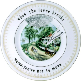 """Garth Johnson, """"Manifest Destiny (Currier and Ives - Home on the Mississippi 751)"""" 2010, Bing & Grondahl limited edition Currier and Ives porcelain plate, decal, 8""""."""