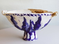 "Frances Palmer, ""Oval Footed Bowl with Trees"" 2014, porcelain, cobalt, glaze, gold luster, 13 x 6.5 x 7""."