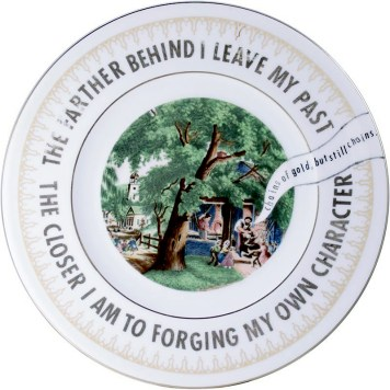 """Garth Johnson, """"Manifest Destiny (Currier and Ives - The Village Blacksmith #760)"""" 2010, Bing & Grondahl limited edition Currier and Ives porcelain plate, decal, 8""""."""