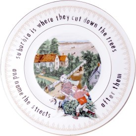 """Garth Johnson, """"Manifest Destiny (Currier and Ives - The Western Farmers Home #756)"""" 2010, Bing & Grondahl limited edition Currier and Ives porcelain plate, decal, 8""""."""