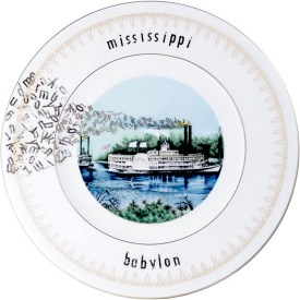 """Garth Johnson, """"Manifest Destiny (Currier and Ives - Rounding A Bend #758)"""" 2010, Bing & Grondahl limited edition Currier and Ives porcelain plate, decal, 8""""."""