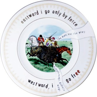 """Garth Johnson, """"Manifest Destiny (Currier and Ives - The Buffalo Hunt #762)"""" 2010, Bing & Grondahl limited edition Currier and Ives porcelain plate, decal, 8""""."""