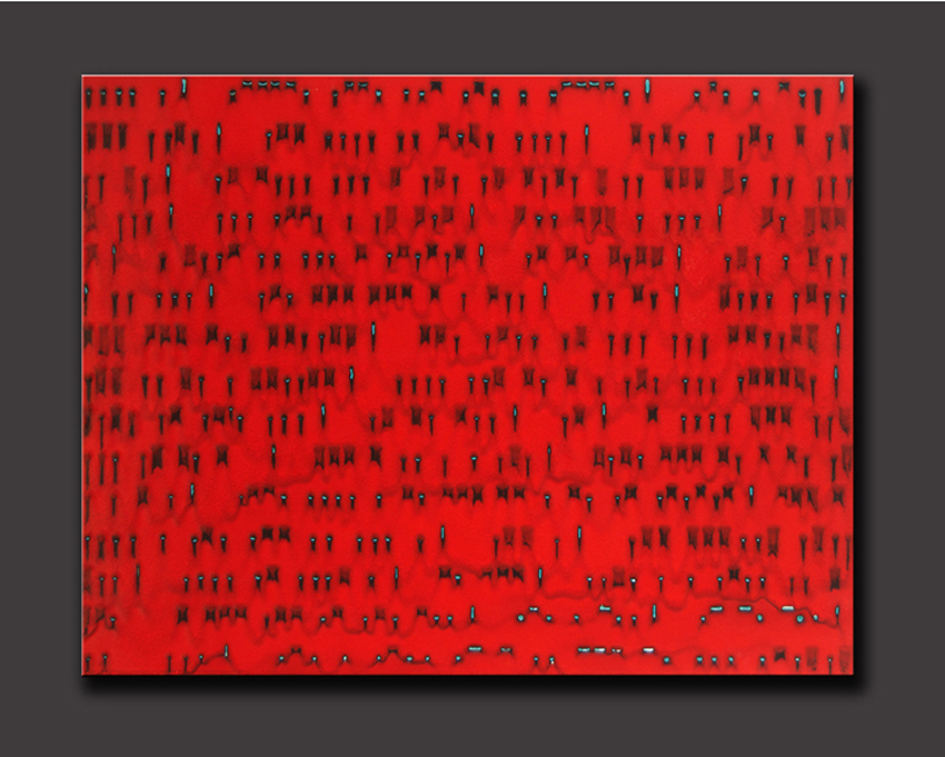 """Robert Silverman, """"Motherwell — Morse Code Translation"""" 2013, re-fired commercial tile fabricated in Jingdezhen, China, 36"""" x 28""""."""