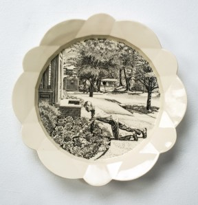 """Andrew Raftery, """"May: Cultivating Lettuce"""" 2014, engraving transfer printed on glazed white earthenware, 14""""."""""""