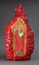 "Kadri Pärnamets, ""St. Agnes, after Andrea di Bonaluto (14th century), porcelain, slip, glaze, 24.5 x 13 x 11.5""."