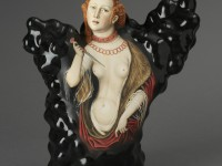 "Kadri Pärnamets, ""Question of Honor — Lucretia, after Lucas Cranach the Elder, porcelain, slip, glaze, 11 x 10.5 x 5""."