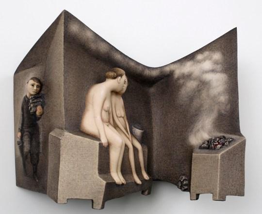 "Sergei Isupov, ""Sauna"" 2015, porcelain, slip, glaze, 9 x 11 x 4""."