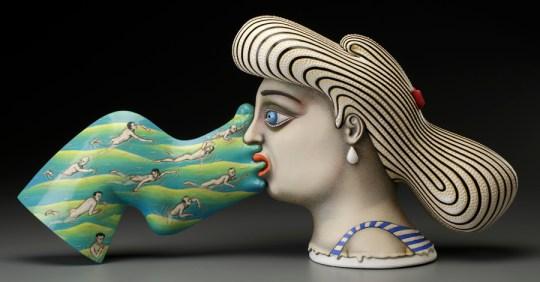 "Sergei Isupov, ""Crosscurrent"" 2015, porcelain, slip, glaze, 11.5 x 23 x 6""."