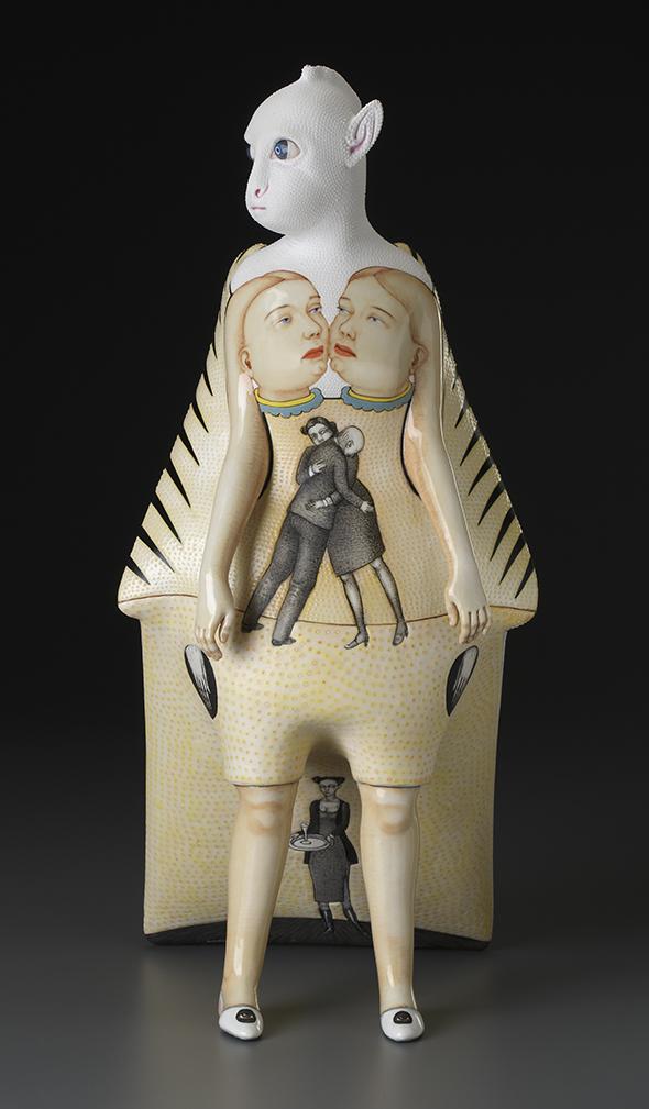"Sergei Isupov, ""Winter–Summer,"" 2015, porcelain, slip, glaze, 16.5 x 8 x 8.5""."