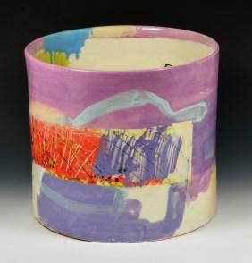 "Lauren Mabry, ""Cylinder"" 2015, red earthenware, slip, glaze, 11 x 12 x 12""."