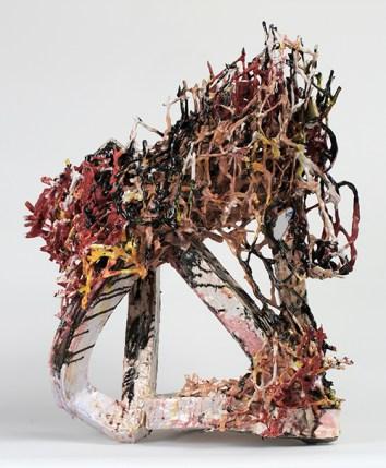 "Linda Sormin, ""Fierce Passenger"" 2015, ceramic, glaze, 33.5 x 25 x 17""."