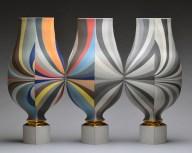 """Peter Pincus, """"Vessels"""" 2015, porcelain, glaze, gold lustre, 21 x 30 x 8""""."""