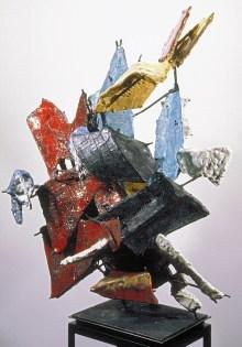 """Raymon Elozua, """"DS:RE12alter-1a-new"""" 2001, terra cotta, glaze, steel rod, steel plate, 34 x 21 x 18""""."""