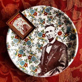 Brooke Rothshank: miniature watercolor paintings Justin Rothshank: decal-printed tableware