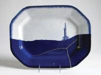"Paul Scott, ""Scott's Cumbrian Blue(s): American Scenery, Fracked No. 4"" 2015, in-glaze decal, gold leaf, pearlware platter c. 1840, 11.25 x 14.5 x 1""."