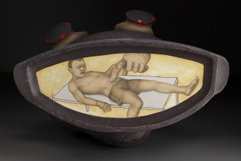 """Sergei Isupov, """"The Boxer"""" bottom view, 2009, stoneware, stain, glaze, 26.5 x 24 x 17""""."""