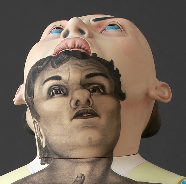 "Sergei Isupov, ""Risen"" detail, 2016, stoneware, slip, glaze, 8'."