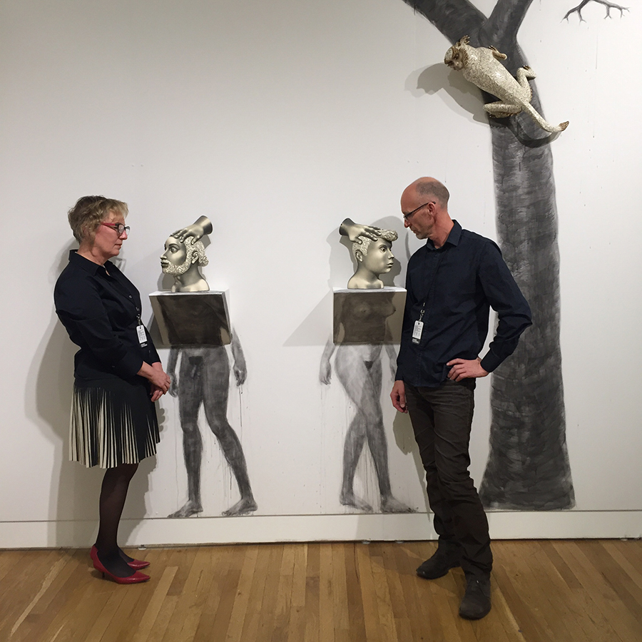 """Leslie Ferrin with Sergei Isupov in """"The Rising"""" at PULSE NY 2016 presented by Ferrin Contemporary."""