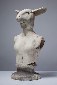 "Christie Brown, ""Clever Sheep"" 2015, ceramic, 15 x 12 x 9""."
