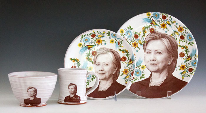 "Justin Rothshank, ""Hillary Clinton Tableware Set"" 2016, earthenware, glaze, ceramic decals, dinner plate: 11"", salad plate: 9"", bowl: 3.5 x 6"", mug: 4 x 3.5""."