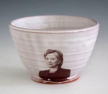 "Justin Rothshank, ""Hillary Clinton Bowl"" 2016, earthenware, glaze, ceramic decals, 3.5 x 6""."