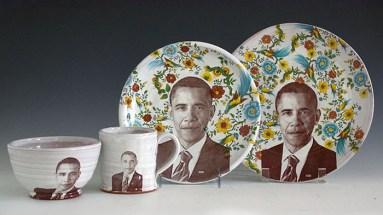"Justin Rothshank, ""Barack Obama Tableware Set"" 2016, earthenware, glaze, ceramic decals, dinner plate: 11"", salad plate: 9"", bowl: 3.5 x 6"", mug: 4 x 3.5""."