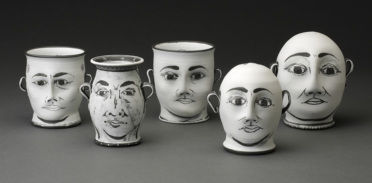 """Edward Eberle, from left to right: """"Sight Site,"""" """"Two Knew,"""" """"Look, See,"""" """"Two Men,"""" """"Two Purists"""" 2015, porcelain, approx 5 x 3""""."""