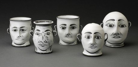 "Edward Eberle, from left to right: ""Sight Site,"" ""Two Knew,"" ""Look, See,"" ""Two Men,"" ""Two Purists"" 2015, porcelain, approx 5 x 3""."