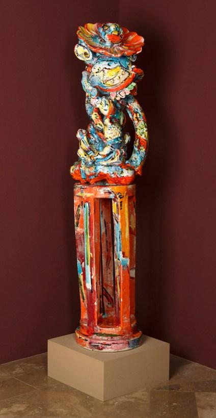 """Viola Frey, """"Flower-Eater"""" 1983, glaze, ceramic, 64 x 17 x 15""""."""