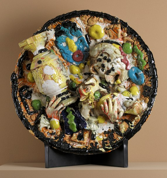 """Viola Frey, """"Plate"""" 1988, glaze, ceramic, 32 x 4""""."""