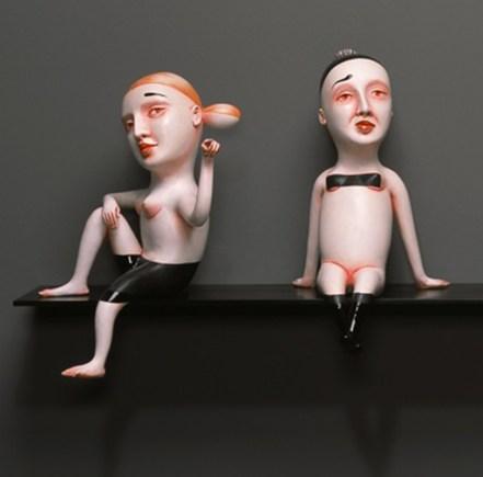 """Patti Warashina, """"Scrutiny"""" 2011, glaze, clay, mixed media, 82.5 x 18.5 x 24""""."""