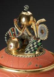 "Ralph Bacerra, ""Large Untitled Vessel"" top detail, 1999, lustre, glaze, earthenware, 33 x 14""."