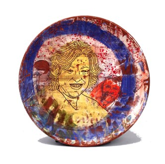 "Brooke and Justin Rothshank, ""Sonia Sotomayor Plate"" 2016, earthenware, glaze, 16""."