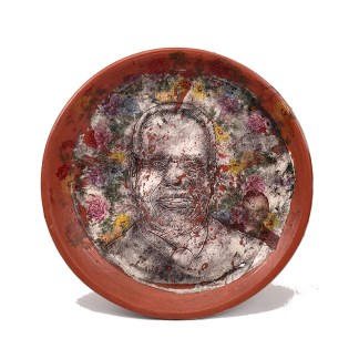 "Brooke and Justin Rothshank, ""Clarence Thomas Plate"" 2016, earthenware, glaze, 16""."