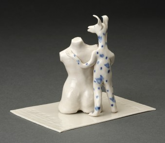 """Coille McLaughlin Hooven, """"The Object Lesson"""" 1991, porcelain, 3.75 x 4 x 3.5""""."""