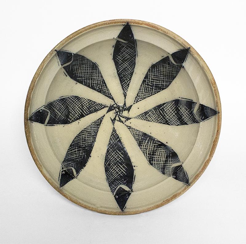 "Michael Simon, ""Bowl with Fish"" c. 2005, stoneware, 5 x 15.25 x 15.25""."