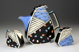 """Dorothy Hafner, """"Teapot, Sugar, Creamer"""" 1988, porcelain, underglaze."""