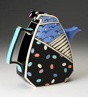 """Dorothy Hafner, """"Teapot"""" 1988, porcelain, underglaze, 12 x 4 x 10.5"""""""