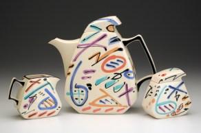 """Dorothy Hafner, """"Teapot, Sugar, Creamer"""" 1991, porcelain, underglaze."""